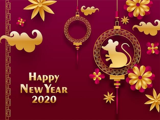 2020 feliz ano novo chinês cartão com pendurado signo de rato e flores de corte de papel decoradas em rosa.