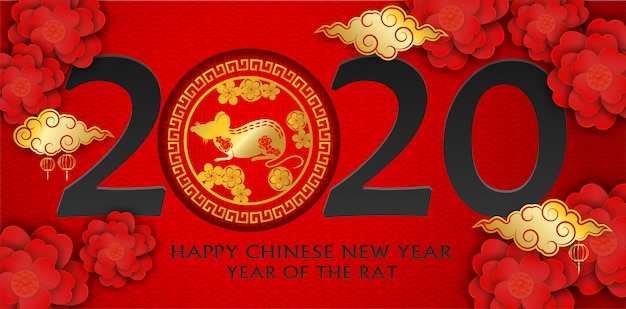 2020 feliz ano novo chinês. projete com flores e rato no fundo vermelho. ano feliz rato.