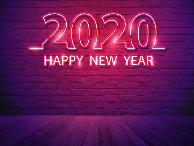 2020 feliz ano novo com alfabeto de luz de néon no fundo de sala de parede de tijolo