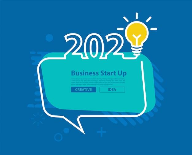 2020 feliz ano novo com lâmpada criativa e bolha do discurso