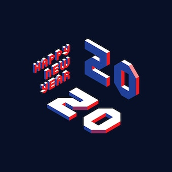 2020 feliz ano novo com letras isométricas para cartão