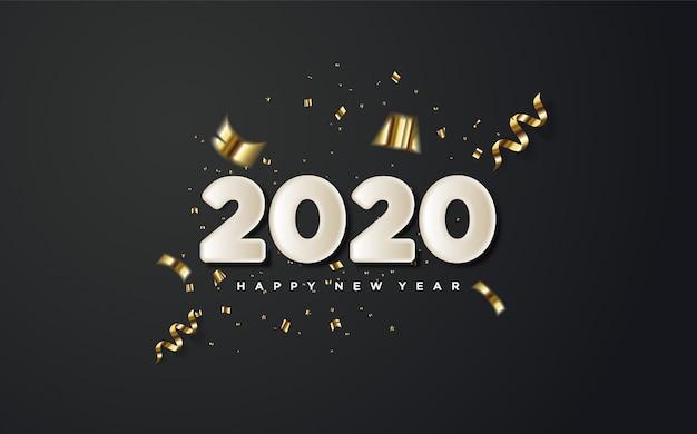 2020 feliz ano novo com números brancos e pedaços de papel dourado em um preto.