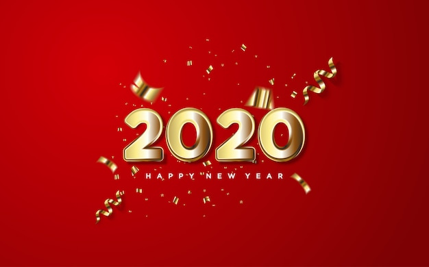 2020 feliz ano novo com números de ouro e pedaços de papel de ouro em um vermelho.