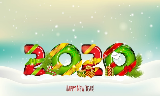 2020 feliz ano novo e ilustração de inverno feliz natal