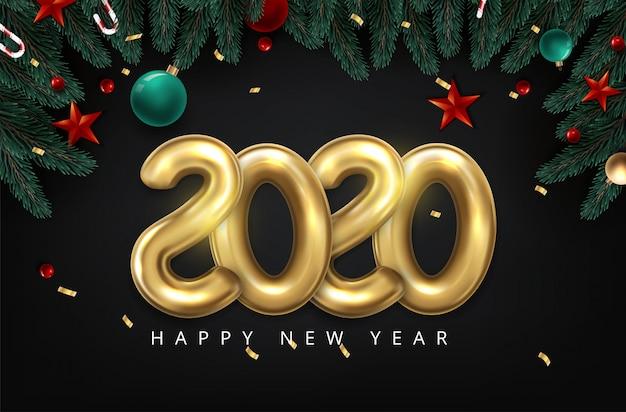 2020 feliz ano novo em ouro. balão de estilo minimalista de números 2020 isolado