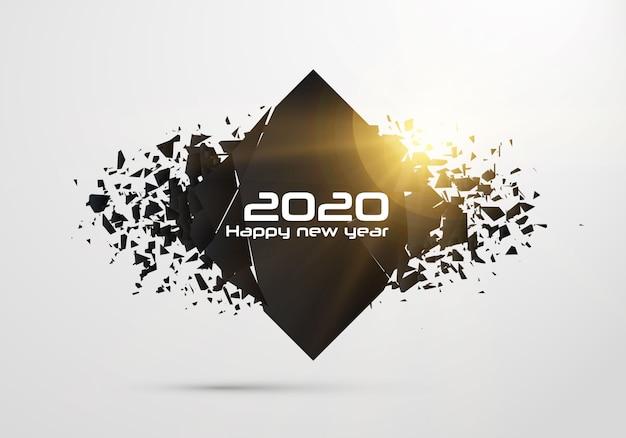 2020 feliz ano novo. formas de destruição geométrica.