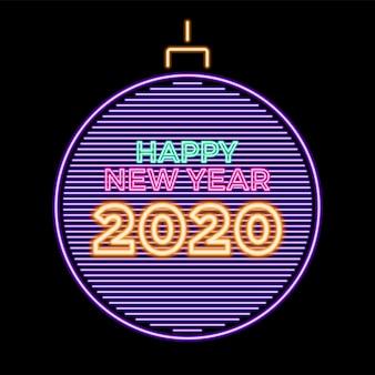 2020 feliz ano novo néon luminoso na bola de natal