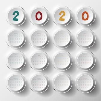 2020 modelo de calendário moderno.