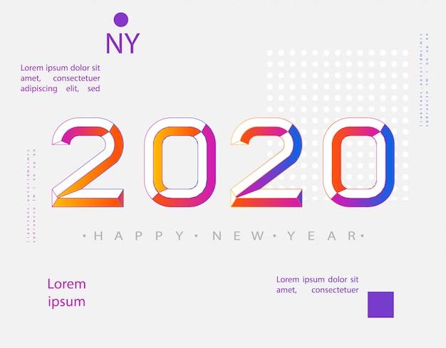 2020 moderno. 2020 feliz ano novo. estilo minimalista de números. números lineares. design de cartão de saudação.
