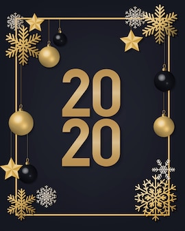 2020 números dourados com flocos de neve