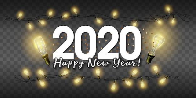 2020 realista isolado luzes de fadas de natal