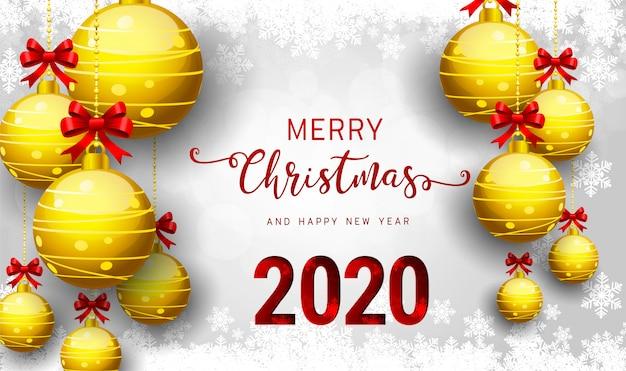 2020 vector cartão de feliz ano novo e feliz natal.