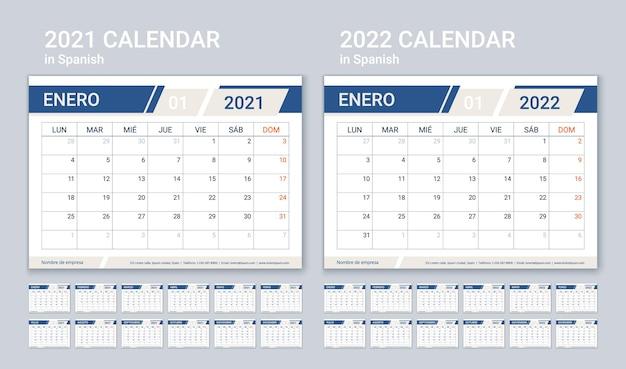 2021 2022 calendário espanhol. modelo de planejador. a semana começa na segunda. layout de calendário com 12 meses