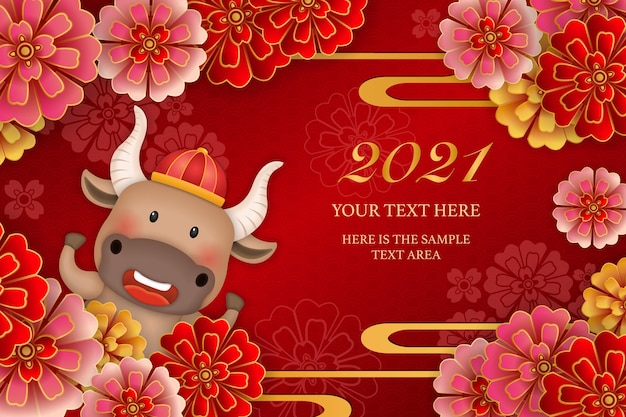 2021 ano novo chinês de boi bonito dos desenhos animados e onda curva de flor de peônia redonda