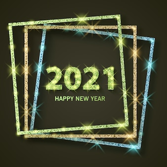 2021 banner de saudação de feliz ano novo de ano novo de 2021 com textura dourada brilhante e glitter