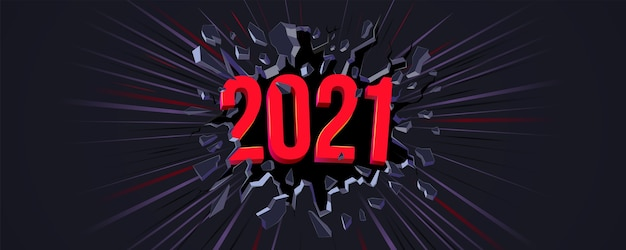 2021 cartão de felicitações de ano novo. texto 3d. rachadura preta na parede preta e linha dinâmica. banner da web, folheto, plano de fundo, cartaz para a celebração da festa de véspera de ano novo. fundo dinâmico.