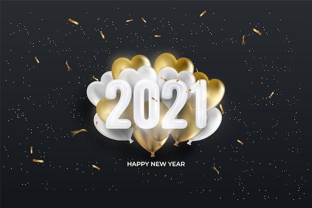 2021 cartão de feliz ano novo com número do balão em fundo preto.