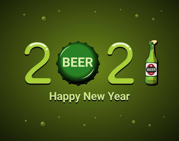2021 comemoração de feliz ano novo com modelo de tema de símbolo de produto cerveja. conceito em vetor de ilustração de desenho animado