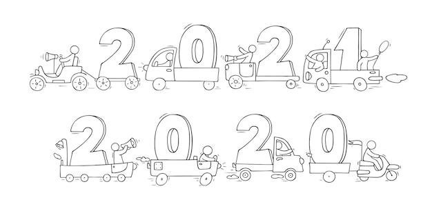 2021 conceito de feliz ano novo com carros. ilustração do doodle dos desenhos animados com pessoas liitle, prepare-se para a celebração. desenhado à mão para o projeto de natal.