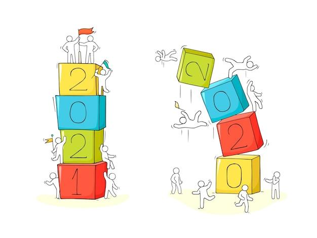 2021 conceito de feliz ano novo. ilustração do doodle dos desenhos animados com pessoas liitle. desenhado à mão para o projeto de natal.