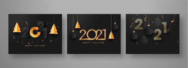 2021 design de cartaz de feliz ano novo com árvores de natal douradas em 3d