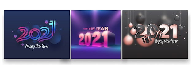 2021 design de cartaz de feliz ano novo em três opções de cores