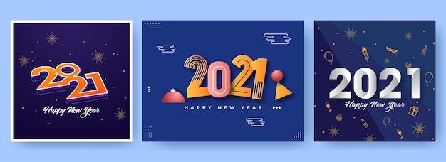 2021 design de pôster de celebração de feliz ano novo em três opções