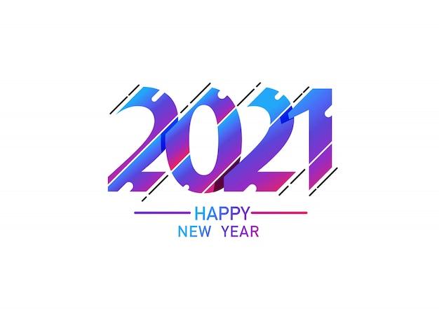 2021 design de texto do logotipo de feliz ano novo