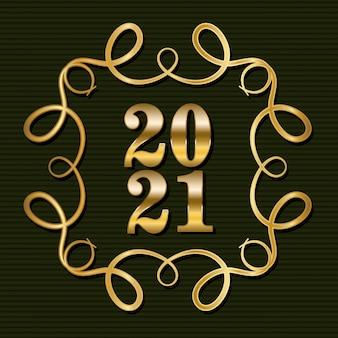 2021 em ornamento moldura dourada sobre fundo verde