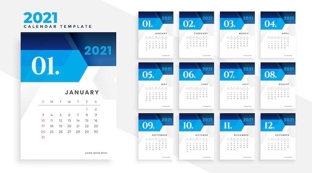 2021 estilo geométrico moderno design de calendário empresarial azul