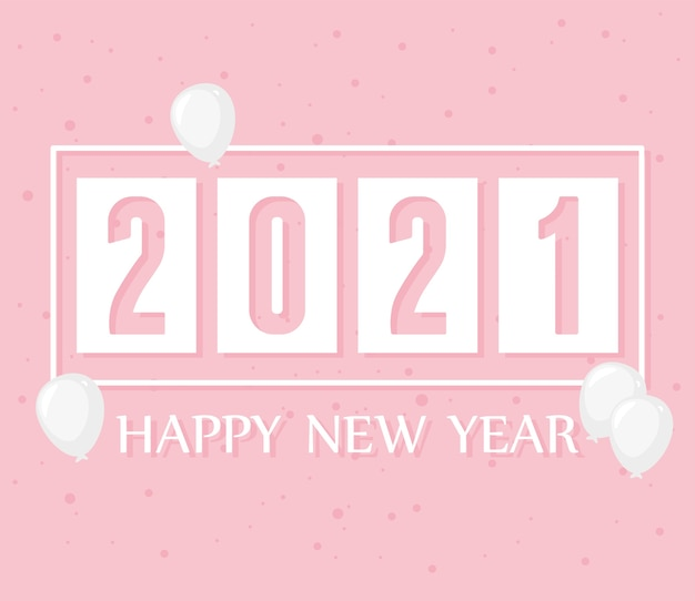 2021 feliz ano novo, bolinhas rosa e ilustração de decoração de balões