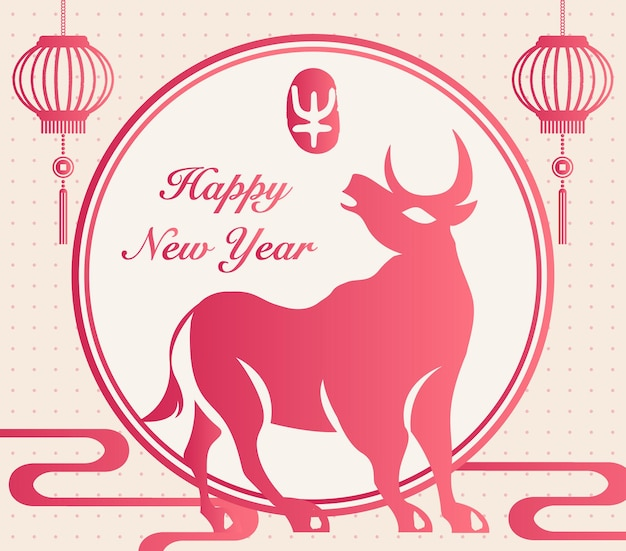 2021 feliz ano novo chinês com decoração de lanterna de boi