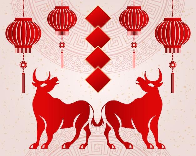 2021 feliz ano novo chinês de boi retro elegante relevo flor lanterna dístico de primavera.