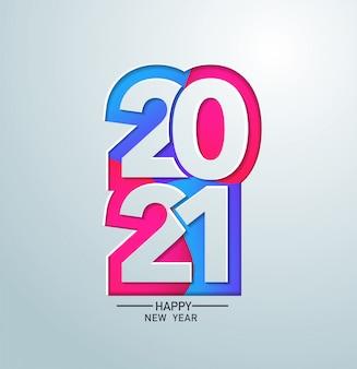 2021 feliz ano novo com design de papel colorido para banner