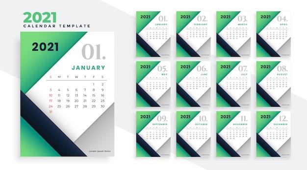 2021 feliz ano novo com design elegante de calendário verde