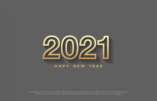 2021 feliz ano novo com elegantes números de linhas douradas.
