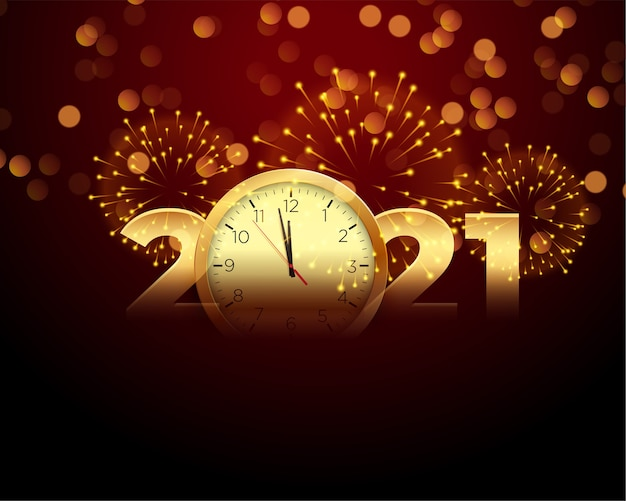 2021 feliz ano novo com fundo de relógio e fogos de artifício