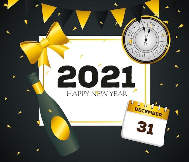 2021 feliz ano novo com garrafa de champanhe e design de calendário. boas-vindas, celebrar e saudar