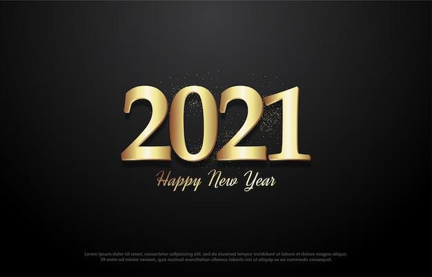 2021 feliz ano novo com ilustração de figura dourada brilhante.