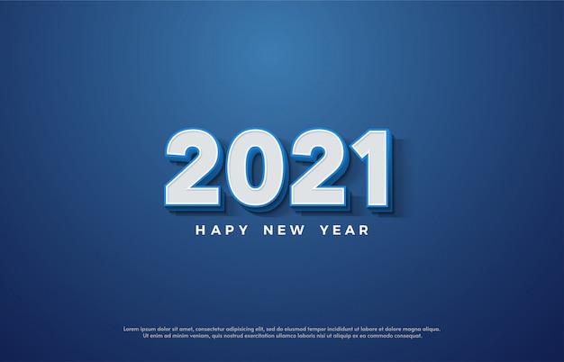 2021 feliz ano novo com ilustração de números brancos 3d com linhas azuis.