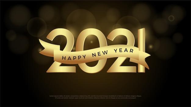 2021 feliz ano novo com ilustração de números dourados e fitas douradas.