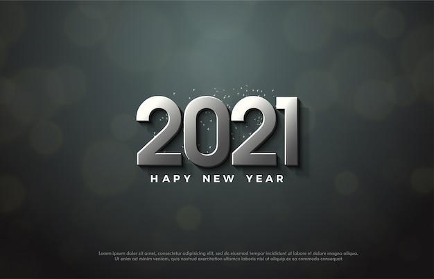 2021 feliz ano novo com luxuosos números de prata 3d.