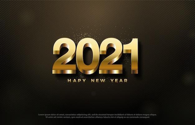 2021 feliz ano novo com números 3d dourados em fundo escuro.
