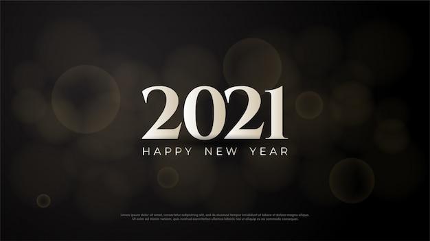 2021 feliz ano novo com números brancos em um fundo preto.