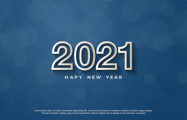 2021 feliz ano novo com números de linha branca 3d.