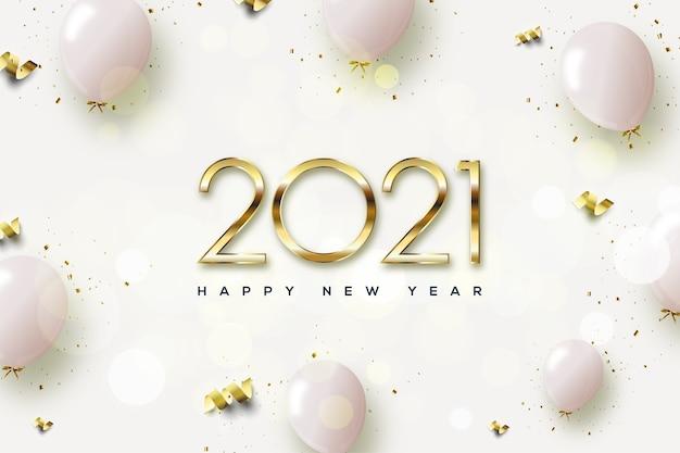 2021 feliz ano novo com números dourados e balões rosa.