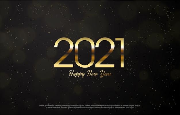 2021 feliz ano novo com números dourados finos.