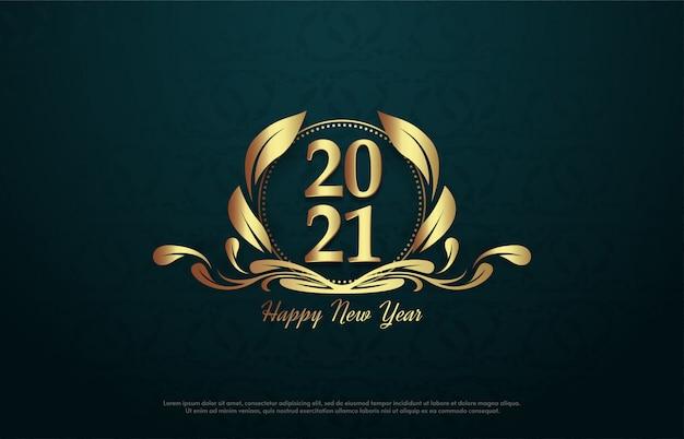 2021 feliz ano novo com números dourados no emblema.