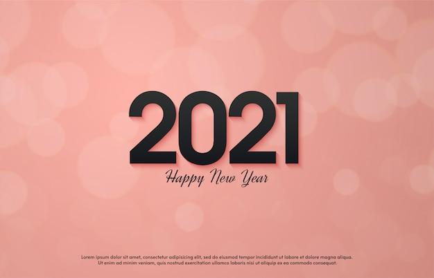 2021 feliz ano novo com números pretos 3d em fundo rosa.