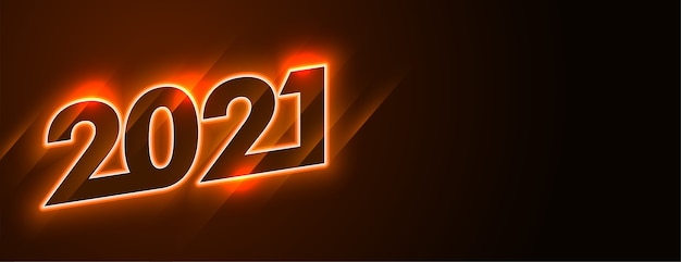 2021 feliz ano novo desenho de banner neon brilhante